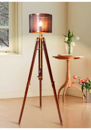 Nautical Antique Shaded Wooden Tripod Floor