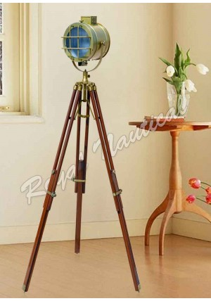 Antique Finish With Brown Tripod LED Floor Lamp