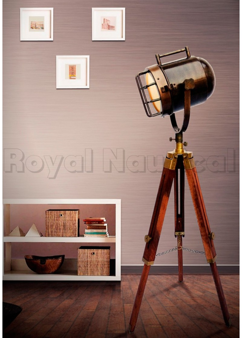 Nautical, Spotlight, LED, Tripod, Floor Lamp, Bulb, Shade