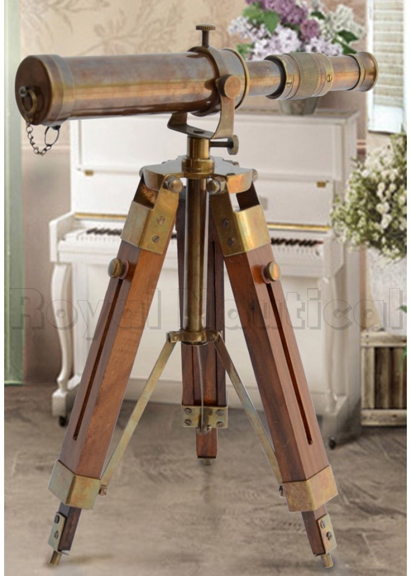 Antique Brass Telescope with Stand