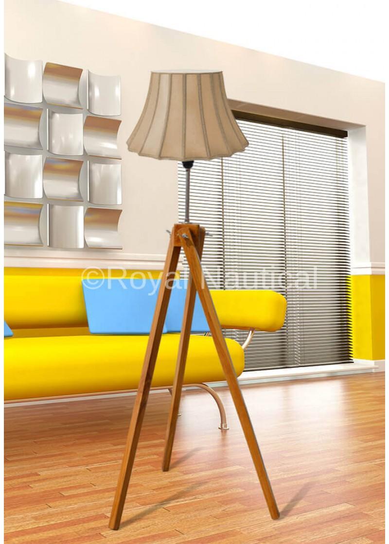 Classic Teak Wood Tripod Floor Lamp