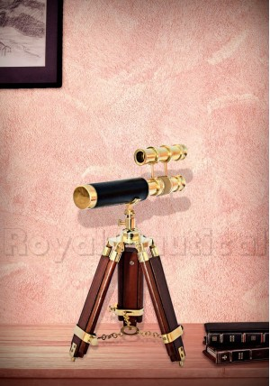Double barrel brass telescope
