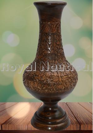 Hand Carved Wooden Vase
