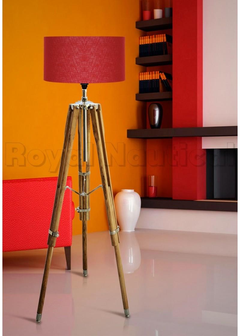 Hollywood Teak Wood Tripod Lamp