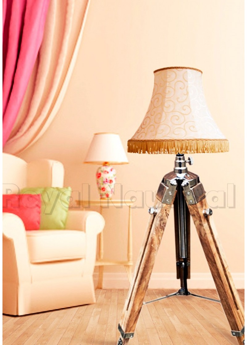 Mini Teak Wood Floor Lamp