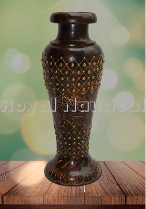 Studded Brass Carved Wooden Vase