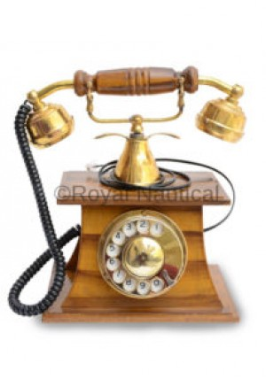 Vintage Finish Wooden Brass Telephone