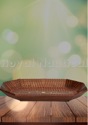 Wooden Brass Carved Tray