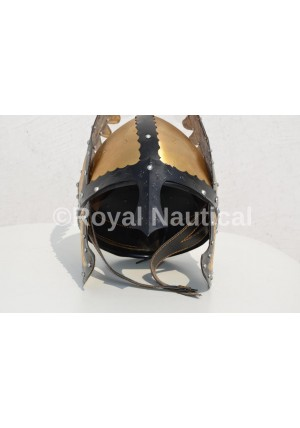 Nautical Antique Finish Helmet With Black strips