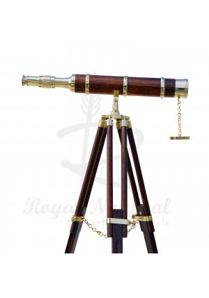 Nautical Brass Brown Telescope Home Decor