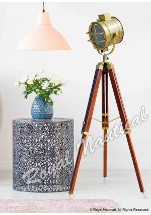 Nautical Antique Finish Spot Search Light With 2 Fold Stand