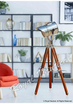 Nautical chrome finish adjustable cap spot search light with Brown Tripod