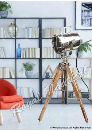 Nautical chrome Finish Mini Teak Wood Handle Light Home Decor
