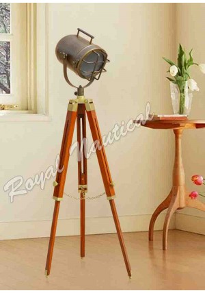 Nautical Antique Finish shaded Spot Search Light with Brown Tripod Home Decor