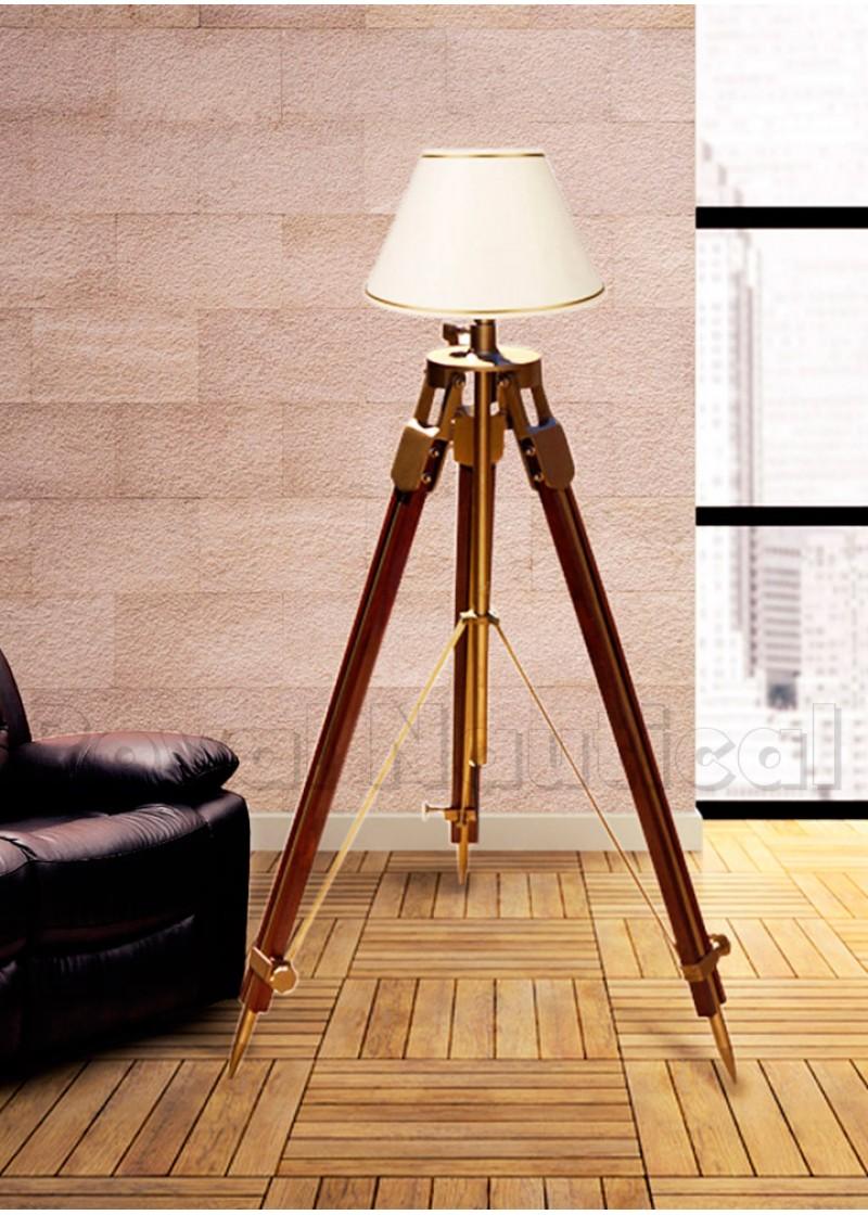 Antique Rustic Wooden Tripod Floor Lamp