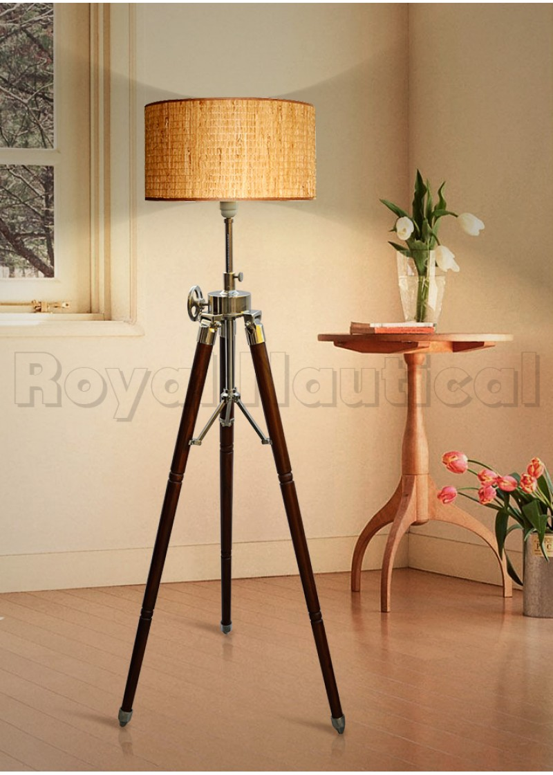 Designer Brown Wheel Tripod Lamp