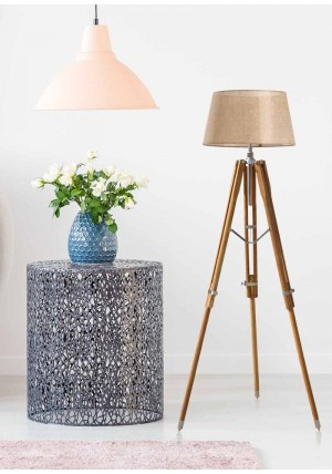 Teak Wood Nautical Chrome Finish Floor Lamp Shade Stand