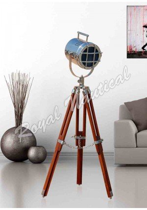 Chrome Mini Spot Light With Adjustable Brown Tripod