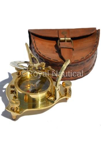 Adventurers Brass Sundial Compass